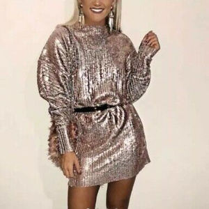Zara Rose Gold Sequin Dress $175 Small